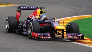 SPA, BELGIUM - AUGUST 25:  Sebastian Vettel of Germany and Infiniti Red Bull Racing drives during the Belgian Grand Prix at Circuit de Spa-Francorchamps on August 25, 2013 in Spa, Belgium.  (Photo by Clive Mason/Getty Images)