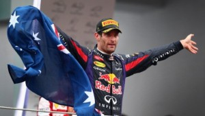SAO PAULO, BRAZIL - NOVEMBER 24:  Mark Webber of Australia and Infiniti Red Bull Racing celebrates on the podium after finishing second in his final F1 race following the Brazilian Formula One Grand Prix at Autodromo Jose Carlos Pace on November 24, 2013 in Sao Paulo, Brazil.  (Photo by Clive Mason/Getty Images)