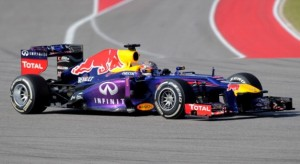 Infiniti Red Bull driver Sebastian Vettel of Germany competes during  the United States Formula One Grand Prix at Circuit of The Americas on November 17, 2013 in Austin,Texas. AFP PHOTO/JOE KLAMAR        (Photo credit should read JOE KLAMAR/AFP/Getty Images)